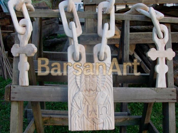 BarsanArt Icoana sculptata cu lant dintr-un lemn
